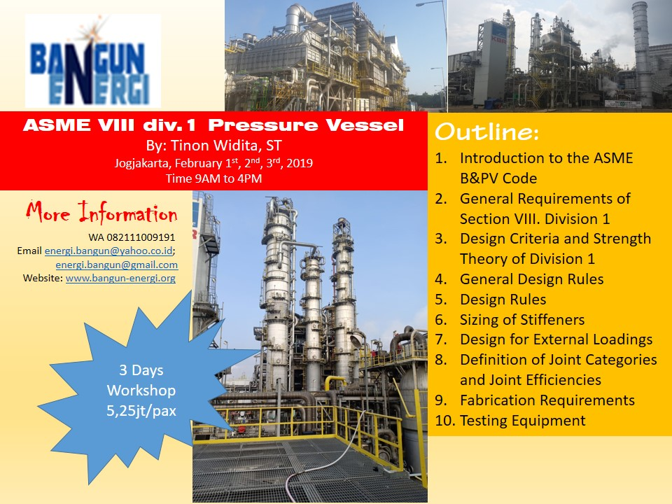 Training: ASME VIII div 1 Pressure Vessel   Bangun Energi
